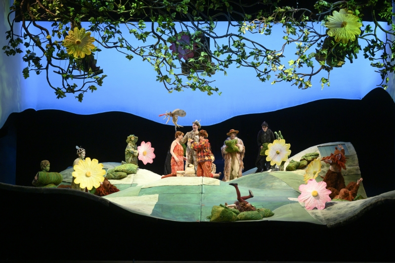 Wide shot of stage large flowers and leaves and green hills.
