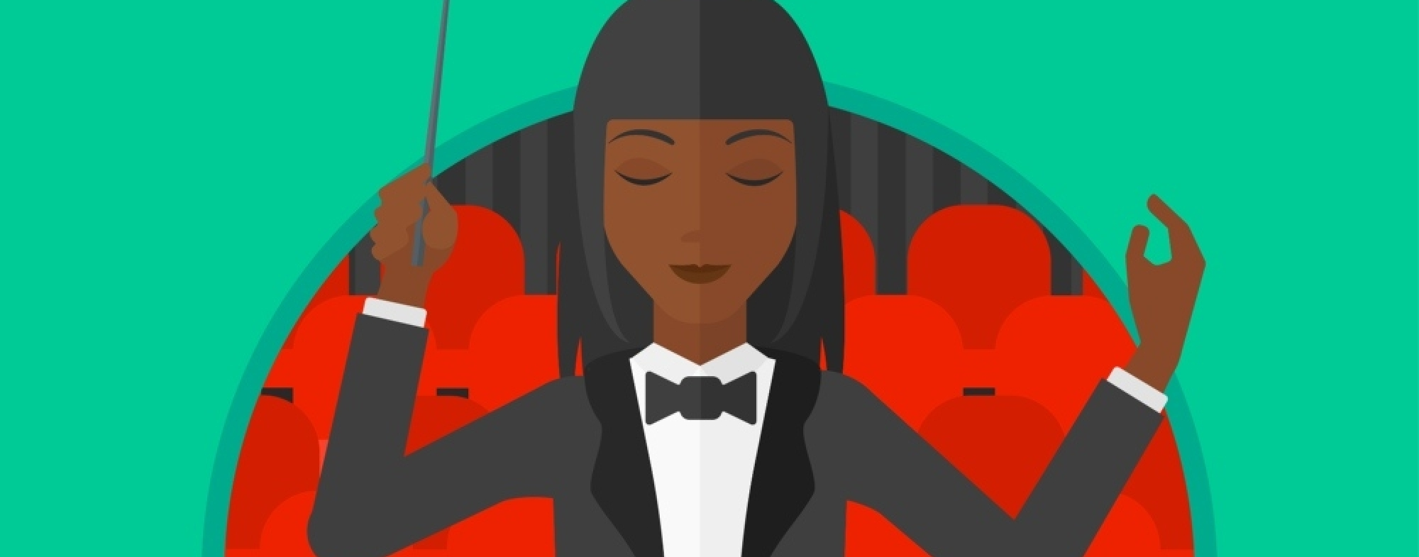 Illustration of a female conductor on a turquoise background.