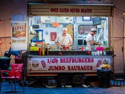 Two men in a kebab van