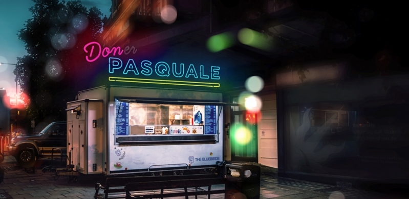 Brightly-lit shop in the dappled evening light, with 'Don Pasquale' in pink and blue neon lights.