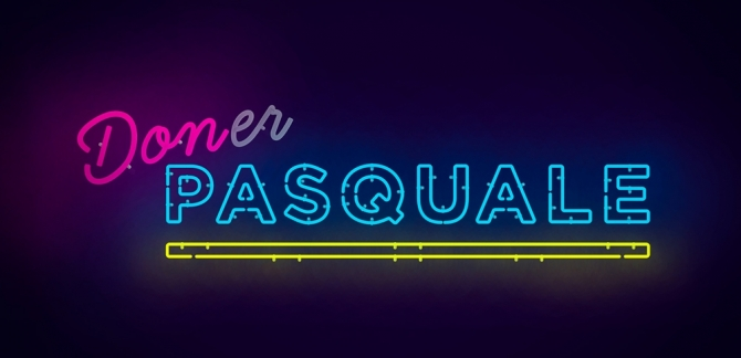 Don Pasquale title art in neon lights style with pinks, blues and yellows