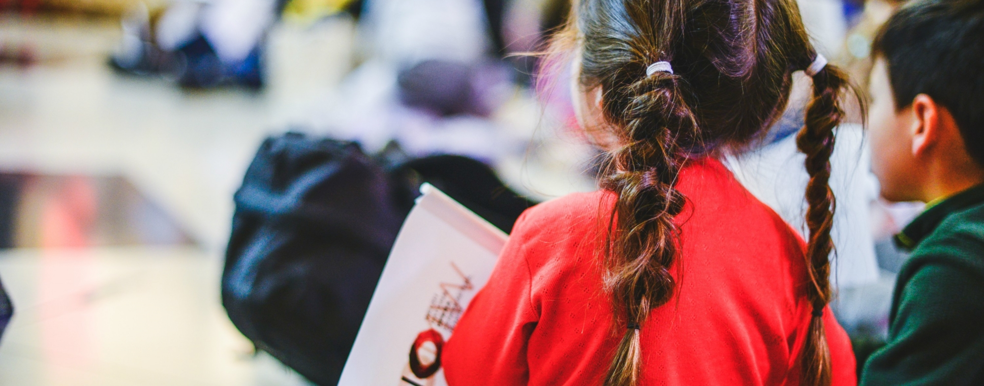 Back view of a little girl in a red t-shirt with long plaits.
