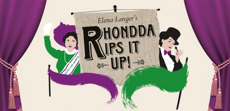 Rhondda Rips it Up illustrative artwork in purple and green shows two ladies in period dress either side of a banner that says Elena Langer's Rhondda Rips it Up! Purple curtains frame the image.