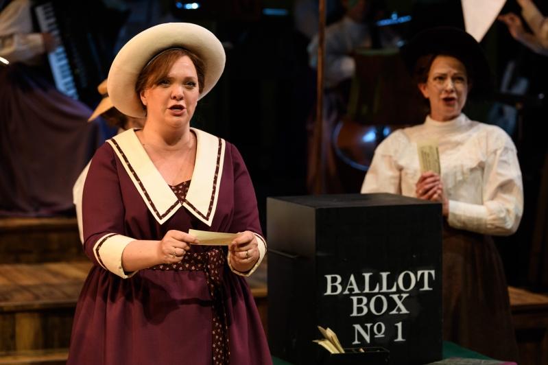 Lady Rhondda and Sybil, looking pensive at the Ballot Box.